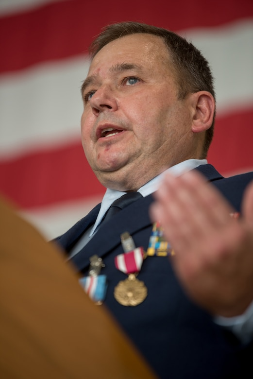 Chief Master Sgt. Robert Crump, outgoing equipment maintenance superintendent for the 123rd Maintenance Group, speaks at his retirement ceremony at the Kentucky Air National Guard Base in Louisville, Ky., Sept. 13, 2020. Crump is retiring after more than 39 years of service to the Kentucky Air National Guard. (U.S. Air National Guard photo by Staff Sgt. Joshua Horton)