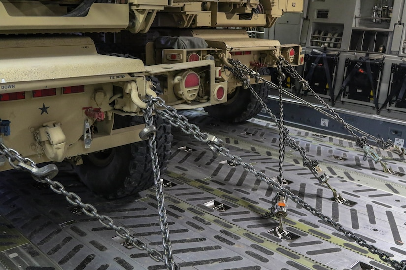 Multiple chains are in place to secure High Mobility Artillery Rocket Systems to an Air Force C-17 during a flight as part of the live-fire exercise in Kuwait, Dec. 22, 2020. Soldiers with the 1-14th Field Artillery Regiment, 75th Field Artillery Brigade, prepared for Diamond Tempest, a field exercise that demonstrated the battalion's ability to dynamically deploy troops in response operations throughout Southwest Asia. After receiving an initial alert, Soldiers had 24 hours to prepare their equipment for movement to conduct the air-land raid live-fire exercise.