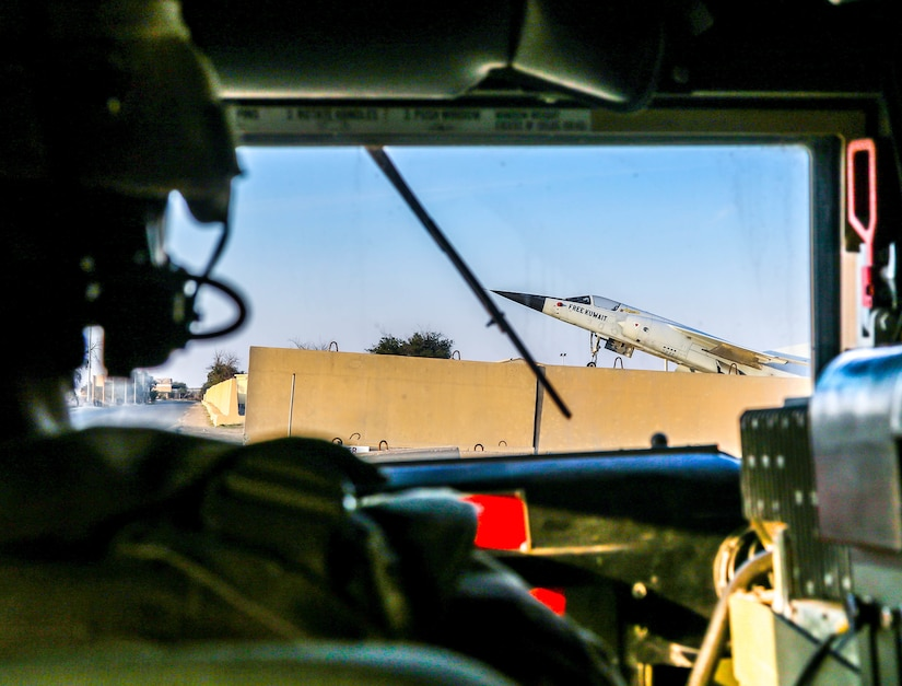 A Soldier drives a HMMWV off of Ali Al Saleem airfield after a flight to Udari Range to fire HIMARS as part of the live-fire exercise in Kuwait, Dec. 22, 2020. Soldiers with the 1-14th Field Artillery Regiment, 75th Field Artillery Brigade, prepare for Diamond Tempest, an exercise that demonstrated the battalion's ability to dynamically deploy troops in response operations throughout Southwest Asia. After receiving an initial alert, Soldiers had 24 hours to prepare their equipment for movement to conduct the air-land raid live-fire exercise.