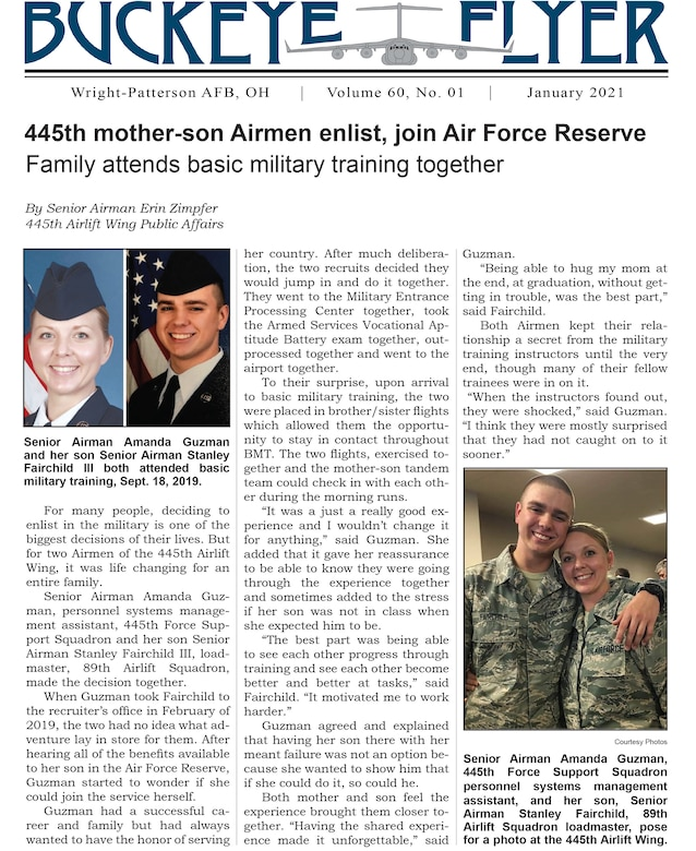 The January 2021 issue of the Buckeye Flyer is now available. The official publication of the 445th Airlift Wing includes eight pages of stories, photos and features pertaining to the 445th Airlift Wing, Air Force Reserve Command and the U.S. Air Force.
