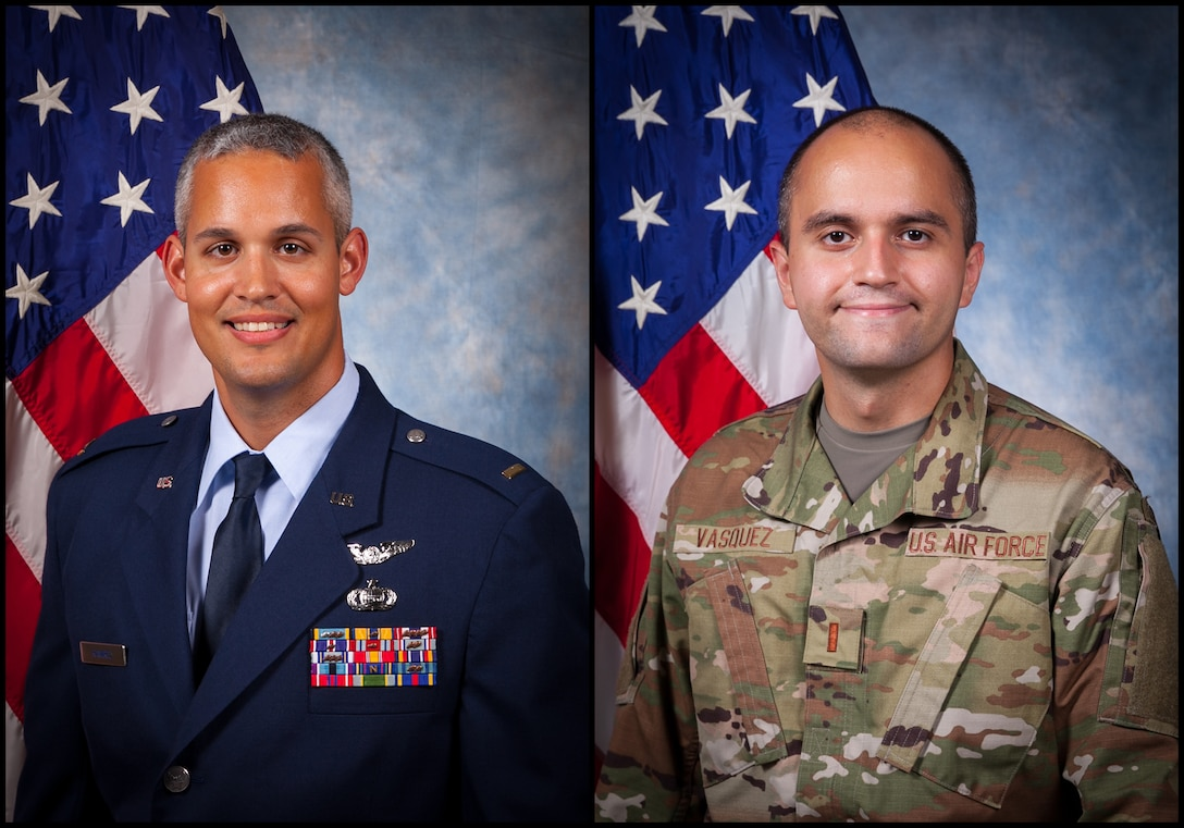 (Left to right) Second lieutenants Christopher P. Ramirez and Samuel H. Vasquez are newly commissioned officers that were each selected for the chance to commission through the 655th Intelligence, Surveillance and Reconnaissance Wing's Non-EAD Airmen Commissioning Program. Both commissioned in 2020. (U.S. Air Force Photo by 2nd Lt. Christopher P. Ramirez)