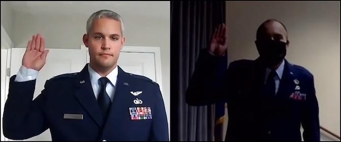 (Then) Officer Trainee Samuel Vasquez, 63rd Intelligence Squadron, affirms the Oath of Office, administered virtually by his former 63rd IS colleague, 2nd Lt. Christopher Ramirez, 71st Intelligence Squadron. Vasquez will continue to serve at the 42nd Intelligence Squadron. Ramirez and Vasquez were each selected for a chance to commission during the 655 ISRW's Non-Extended Active Duty Airmen Commissioning Program boards of 2018 and 2019, and are now leading elsewhere within the 655th Intelligence, Surveillance and Reconnaissance Wing. (U.S. Air Force photo by 2nd Lt. Christopher P. Ramirez)