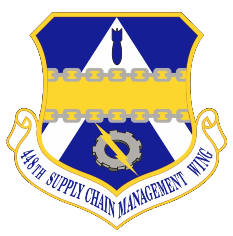 Blue, white and yellow shield for 448th Supply Chain Management Wing