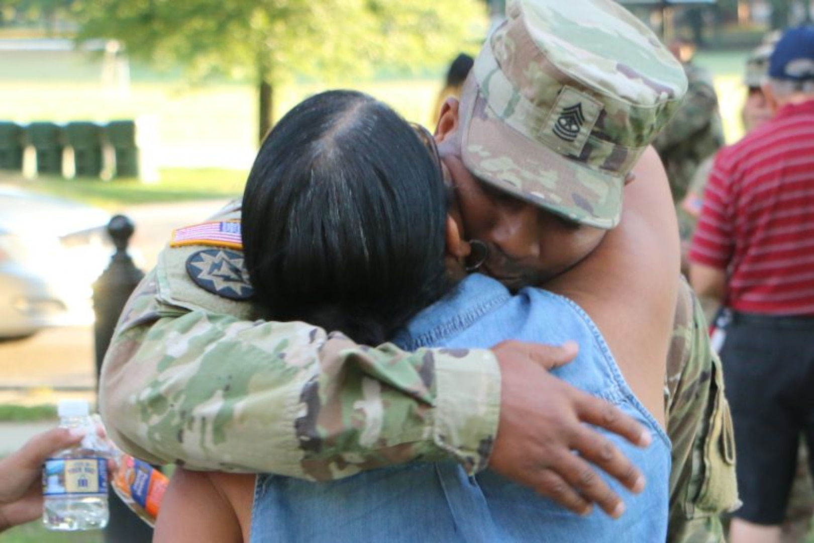 One of the final groups of Maryland and Virginia National Guard Soldiers assigned to the Fort Belvoir-based 29th Infantry Division returns to Virginia July 25, 2017, after serving on federal active duty since November 2016.