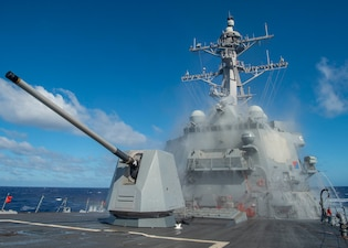 USS John Finn (DDG 113) tests its counter-measure washdown system.