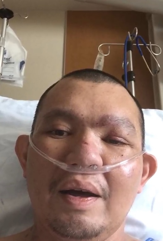 Tech Sgt. Lloyd Tumbaga was hospitalized with COVID-19 for 17 days in July 2020.