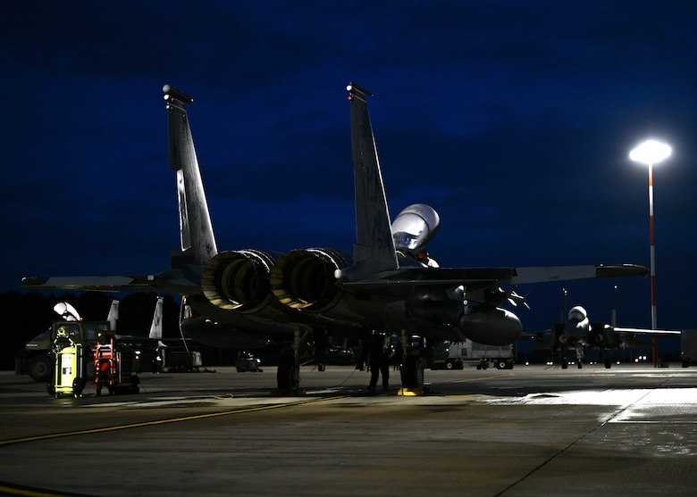 An F-15E Strike Eagle assigned to the 494th Fighter Squadron stands static on the flightline at Royal Air Force Lakenheath, England, Jan. 5, 2021. The 48th Fighter Wing maintains combat readiness through daily training, ensuring the ability to provide superior airpower capabilities in support of United States interests and those of their allies and partners.  (U.S. Air Force photo by Senior Airman Madeline Herzog)