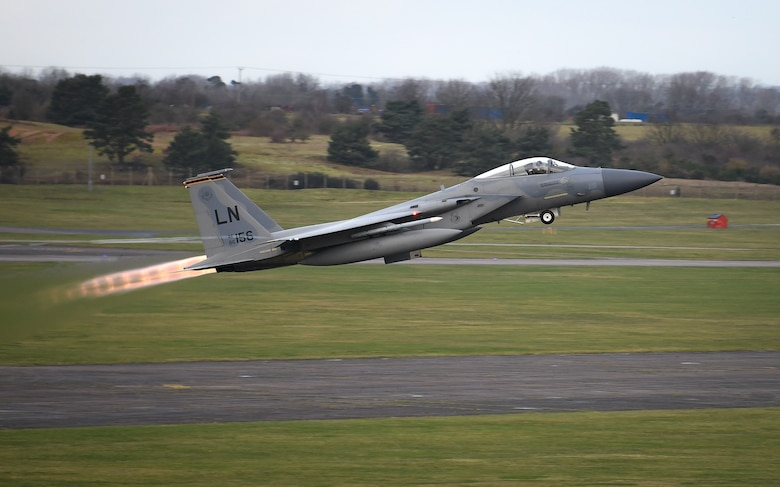An F-15C Eagle assigned to the 493rd Fighter Squadron takes off for the first time in the new year at Royal Air Force Lakenheath, England, Jan. 5, 2021. The 48th Fighter Wing conducts daily flying operations in order to ensure the Liberty Wing can deliver unique air combat capabilities when called upon by its NATO allies. (U.S. Air Force photo by Senior Airman Madeline Herzog)