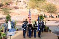Gov. Spencer J. Cox salutes as members of Utah National Guard Honor Guard presents the colors at his inauguration ceremony at the Tuacahn Center for the Arts Amphitheatre in Ivins, Utah Jan. 4, 2021. .