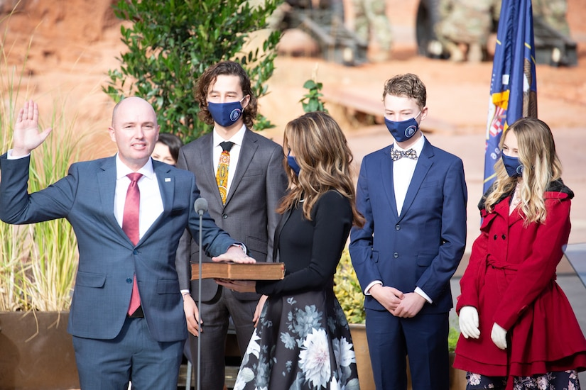 Gov. Elect Spencer Cox officially became Utah's 18th governor after Justice Paige Petersen administered the oath of office during his inauguration ceremony at Tuacahan Center for the Arts in Ivins, Washington County, Utah on Jan. 4, 2021,.