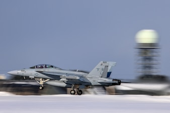 An EA-18G Growler takes off from Misawa Air Base.
