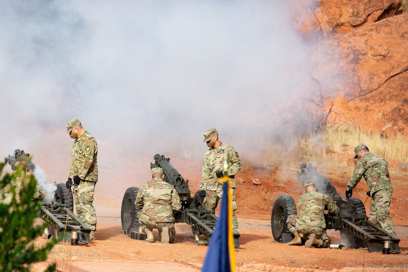Members of Utah National Guard 2nd Battalion, 222nd Field Artillery fire a 19-gun cannon salute at his inauguration ceremony at the Tuacahn Center for the Arts Amphitheatre in Ivins, Utah Jan. 4, 2021M