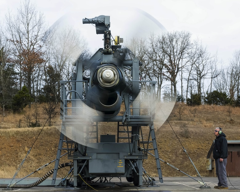 A newly upgraded T-56 Rolls Royce 3.5 modified engine is tested at various speeds and monitored by  Contract Field Team member, Barry Wertz,  to ensure the engine and propeller meets performance specifications on Jan. 4, 2021, at Little Rock Air Force Base, Ark., before delivery to an Air Force Reserve or Air National Guard C-130H Hercules squadron. Contract Field Team members at the test cell facility ensure each engine is serviceable, troubleshoots any issues, and performs additional inspections. (U.S. Air Force Reserve photo by Maj. Ashley Walker)