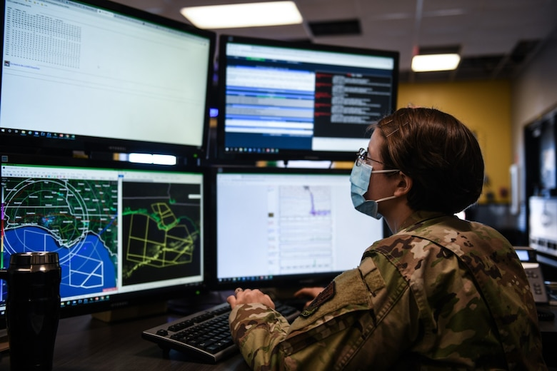U.S. Air Force Airman 1st Class Amanda Landelius, 325th Operations Support Squadron weather journeyman analyzes information to input into a Terminal Aerodrome Forecast on Tyndall Air Force Base, Florida, Jan. 5, 2021. The TAF is a worksheet put together by the weather team to monitor and predict daily forecasts within the airspace. (U.S. Air Force photo by Airman 1st Class Tiffany Price)
