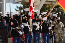 U.S. Marines with MARFOR-K color guard present colors during the MARFOR-K Cake Cutting Ceremony.