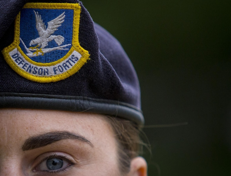 Staff Sgt. Jennifer Marchese stands for a portrait during a German Armed Forces Badge for Military Proficiency test at Joint Base McGuire-Dix-Lakehurst, N.J., Sept. 17, 2017. Marchese is assigned to the 108th Security Forces Squadron. (U.S. Air National Guard photo by Master Sgt. Matt Hecht)