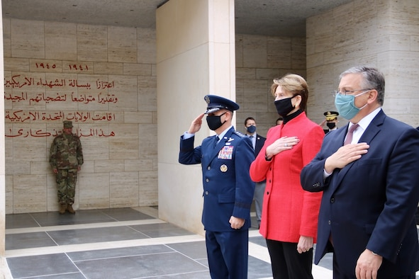 Gen. Jeff Harrigian, U.S. Air Forces in Europe and Air Forces Africa commander, Barbara Barrett, Secretary and the Air Force, and Donald Blome, U.S. Ambassador to Tunisia, attend a ceremony at the North Africa American Cemetery, Tunisia, Jan. 6, 2020. Harrigian visited various locations in North Africa to reaffirm the U.S. military's commitment to the region. (U.S. Embassy Tunis courtesy photo)