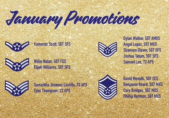 The January 2021 Enlisted Promotions graphic from the 507th Air Refueling Wing at Tinker Air Force Base, Oklahoma. (U.S. Air Force graphic by Senior Airman Mary Begy)