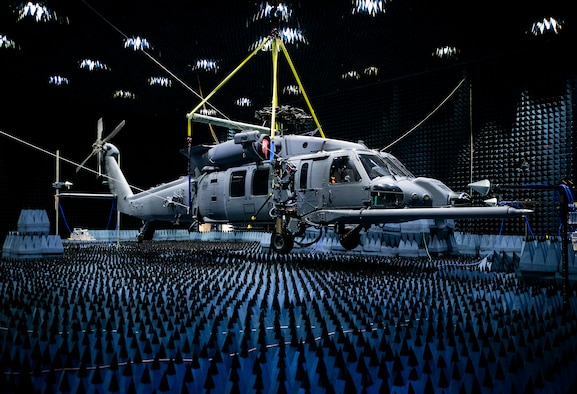 A 413th Flight Test Squadron HH-60W Pave Hawk hangs in the anechoic chamber at the Joint Preflight Integration of Munitions and Electronic Systems hangar, Jan. 6, 2020, at Eglin Air Force Base, Fla. The J-PRIMES anechoic chamber is a room designed to stop internal reflections of electromagnetic waves, as well as insulate from external sources of electromagnetic noise.