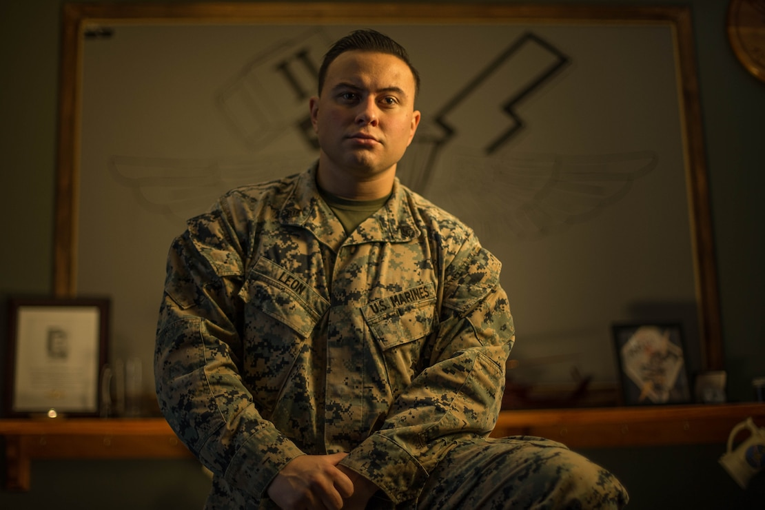 "Sgt. Christopher Leon, a field radio operator with 2nd Air-Naval Gunfire Liaison Company, II Marine Expeditionary Force Information Group, poses for a photo on Camp Lejeune, N.C., January 7, 2021. ""If you're not a starter and you think you should be, give them no choice on the decision. Play so well it's undeniable,"" said Leon, a Brooklyn, N.Y., native. According to his leadership, Sgt. Leon is a fire and forget Marine in the truest sense. Leon leads from the front and sets the example for his peers and junior Marines to emulate by ensuring that the Marines understand all aspects and capabilities of 2nd ANGLICO. Leon is constantly coordinating professional military education events for his Marines, maintaining a constant learning environment for those within 2nd ANGLICO. (U.S. Marine Corps photo by Sgt. Megan Roses)"