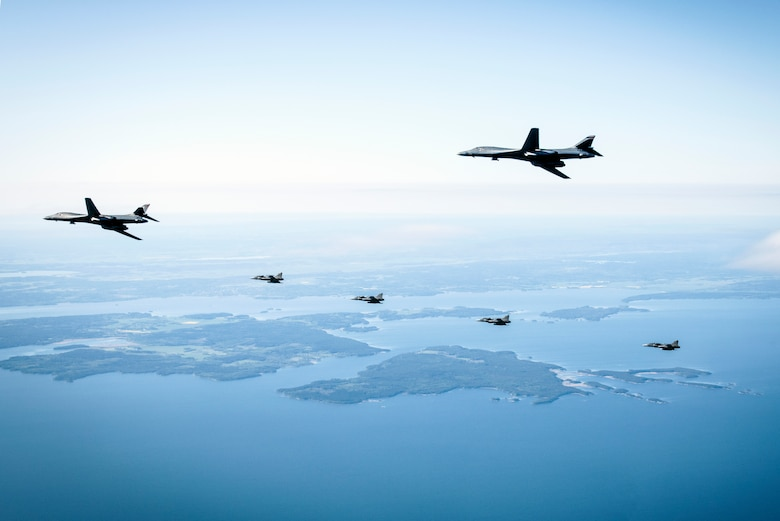 B-1s integrate with Swedish Gripens for first time over Sweden