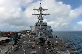 USS Russell (DDG 59) is moored in Majuro, Marshall Islands.