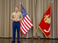 Sgt. Maj. Kenneth L. Kuss delivers a speech during a relief and appointment ceremony at the Defense Logistics Agency, New Cumberland, Pennsylvania, Dec. 22, 2020. Kuss took over as the 4th Marine Corps District senior enlisted advisor position from Wilson.(U.S. Marine Corps photo by Gunnery Sgt. Valerie Nash)