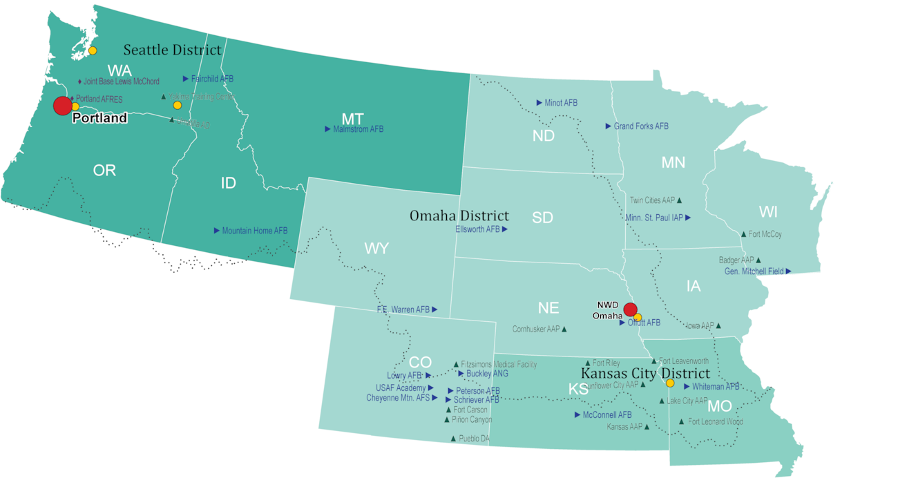 US map showing states in the Seattle, Omaha and Kansas City District who support military programs for the US Army Corps of Engineers. Also shown are locations of US military installations that are supported