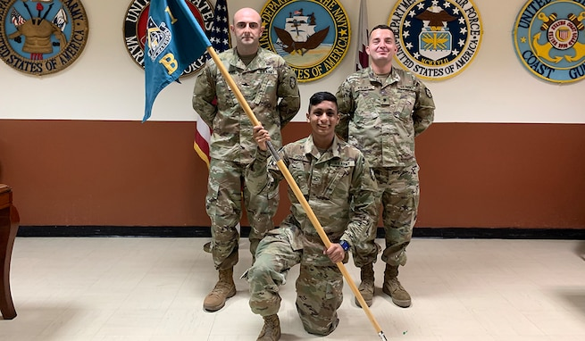 Joint Tactical Ground Station-Qatar's Charlie Crew - Sgt. Michael Thurmond, Pfc. Jairo Perez and Spc. Vincent Vilma - claim Best Crew title during the detachment's Best Crew Competition, Nov. 6-8, 2020. The unit belongs to 1st Space Company, 1st Space Battalion, 1st Space Brigade, U.S. Army Space and Missile Defense Command. (U.S. Army photo/RELEASED)