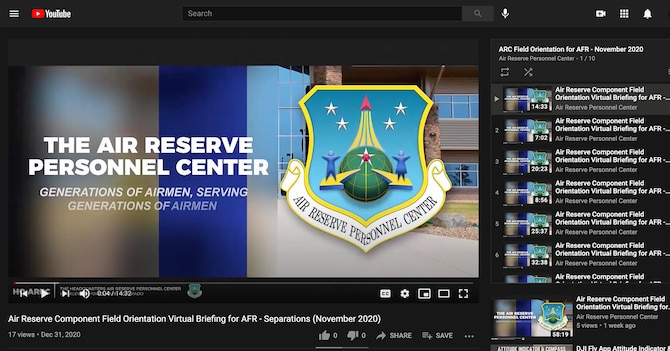 Screenshot of the YouTube playlist of Air Reserve Component field orientation videos published in December 2020. (U.S. Air Force image by Headquarters Air Reserve Personnel Public Affairs/Released)