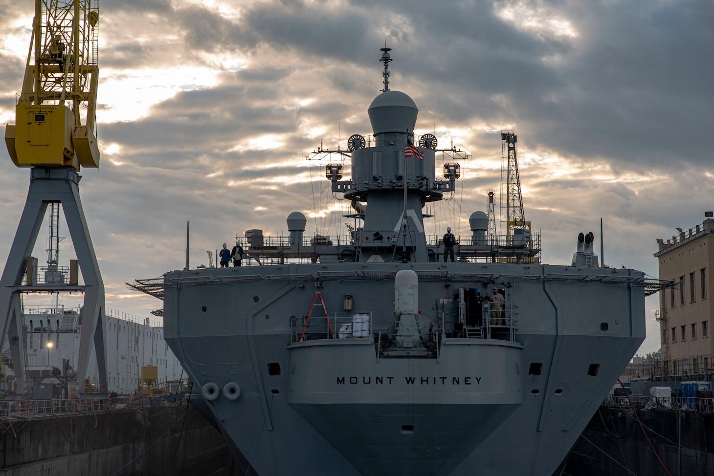 the ship's dry dock phase in San Giorgio Del Porto in Genoa, Italy