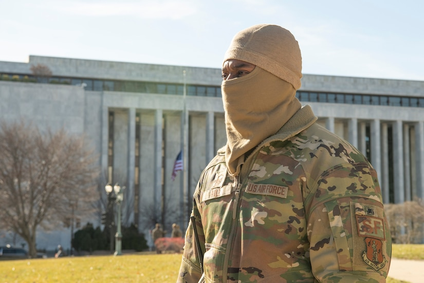 Virginia Air National Guard Master Sgt. Alfred Hill, 192nd Security Forces Squadron, 192nd Wing stands guard at his post Jan. 9, 2021,  in Washington, D.C. National Guard Soldiers and Airmen from several states have traveled to the National Capital Region to provide support to federal and district authorities leading up to the 59th Presidential Inauguration. (U.S. Air National Guard photo by Tech. Sgt. Lucretia Cunningham)