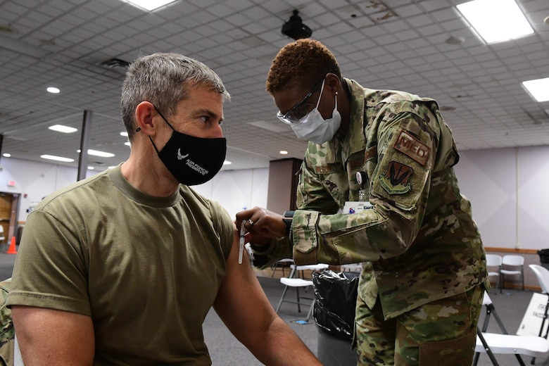 Col. Sean Carpenter, 926th Wing commander, received his COVID-19 vaccine during the Unit Training Assembly, Jan. 9, at Nellis Air Force Base, Nevada. (U.S. Air Force Photo by Staff Sgt. Lorna Booze)
