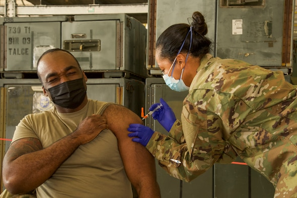 A 108th Wing Airman receives a dose of the COVID-19 vaccination at Joint Base McGuire-Dix-Lakehurst, N.J., Jan. 9, 2021. This was the first time the 108th Wing administered the COVID-19 vaccines to wing members.