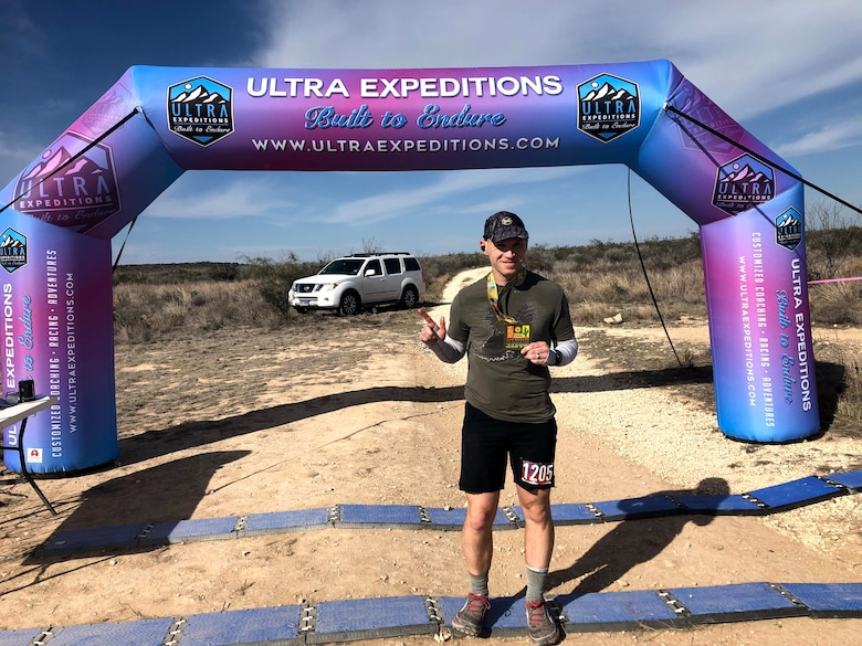 Lt. Col. Jeff Klein finishes a races in Seminole Canyon State Park, Texas.