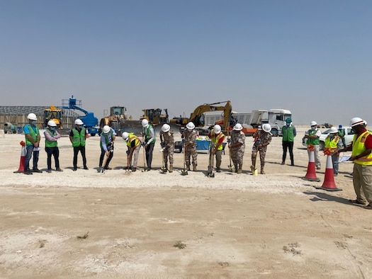 The AFSAC FMS Construction Division and local contractors breaking ground for new air force infrastructure for a USAF International Partner. (Courtesy photo)