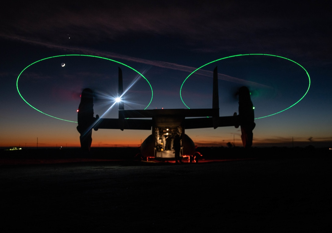 An MV-22 Osprey stages during a night during a Tactical Recovery of Aircraft and Personnel exercise at Marine Corps Base Camp Pendleton, Calif., Dec. 16.