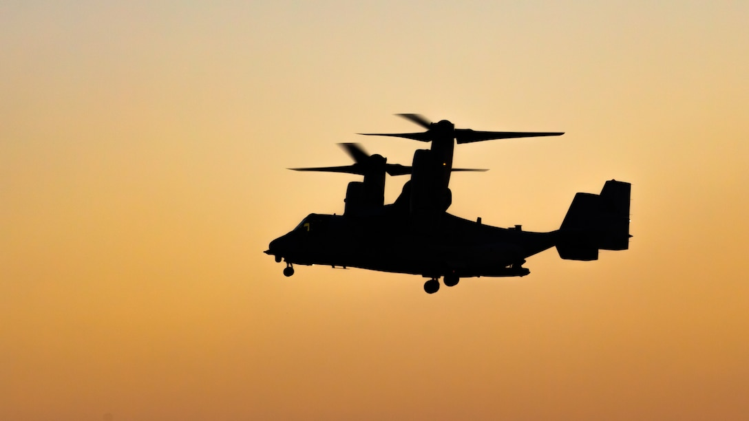 An MV-22B Osprey comes in for a landing at the flight line at Camp Soumagahara, Japan, Dec. 3.