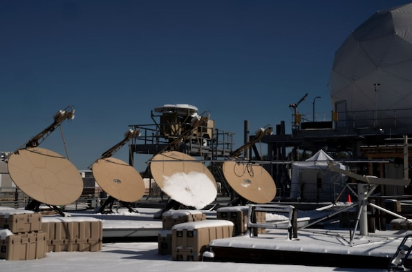 AvL MEO tracking antennas, provided by SES are shown operating at MIT Lincoln Laboratory in support of the PTW O3b test. (Photo courtesy of MIT Lincoln Laboratory)