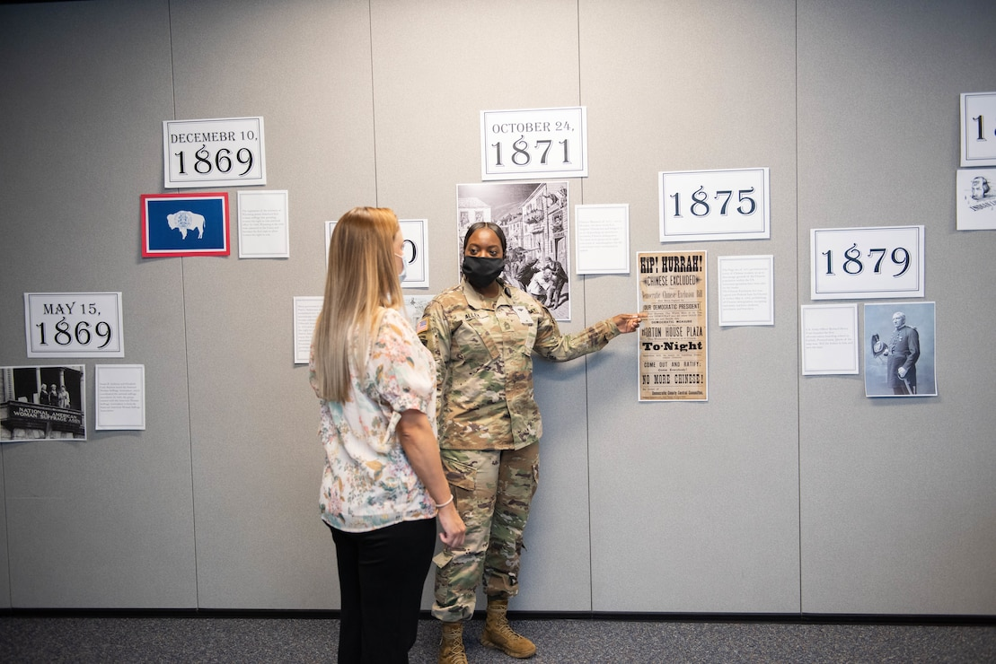MSG Shantae Allen describes some key timeline events on the road to voting rights for other disenfranchised groups of Americans. This was part of the display developed by the Middle East District's Federal Women's Program Committee to mark Women's Equality Day in August.