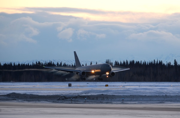 A KC-46A Pegasus, assigned to the 931st Air Refueling Wing (ARW), lands at Eielson Air Force Base, Alaska, Jan. 11, 2020. The KC-46A is visiting Eielson to conduct cold-weather training. (U.S. Air Force photo by Senior Airman Beaux Hebert)