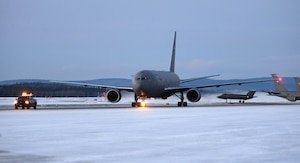 A KC-46A Pegasus, assigned to the 931st Air Refueling Wing (ARW), taxis on the flight line at Eielson Air Force Base, Alaska, Jan. 11, 2020. The mission of the 931st ARW is to support Air Mobility Command's worldwide air refueling mission, meeting the air refueling needs of all U.S. Air Force, Navy, Marine and selected allied nations' aircraft. (U.S. Air Force photo by Senior Airman Beaux Hebert)
