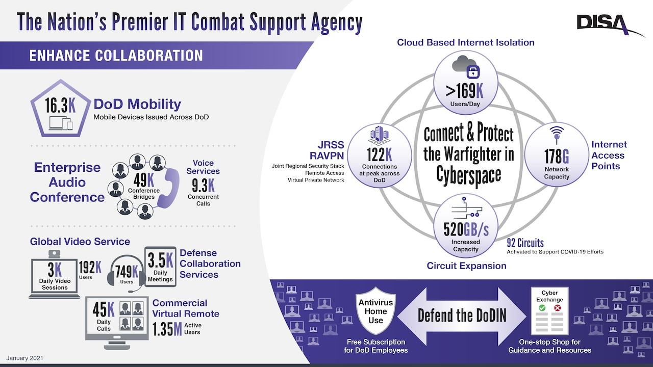 A graphic showing DISA capabilities.