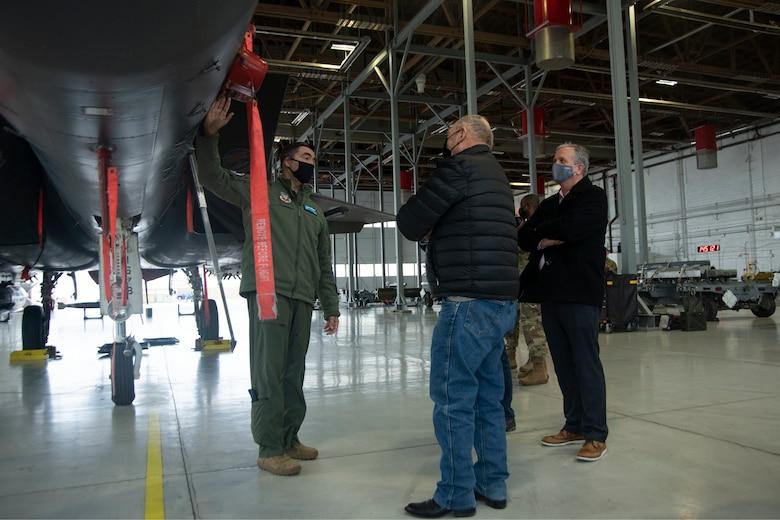 Col. Rick Goodman shows the Idaho State Representatives an F-15E Strike Eagle.