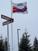 On the corner of Mustang Drive and Voodoo Street at the 148th Fighter Wing, the Voluntary Protection Program (VPP) flag flies proudly to display the wing's STAR rating since 2008.