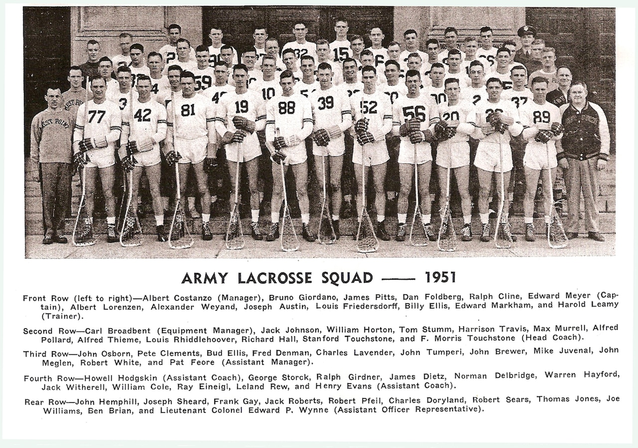 Lacrosse players pose for a team photo.