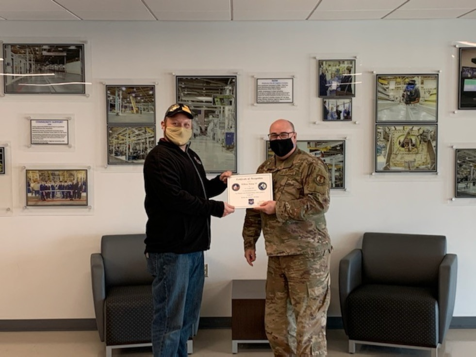 Certificate awarded to civilian