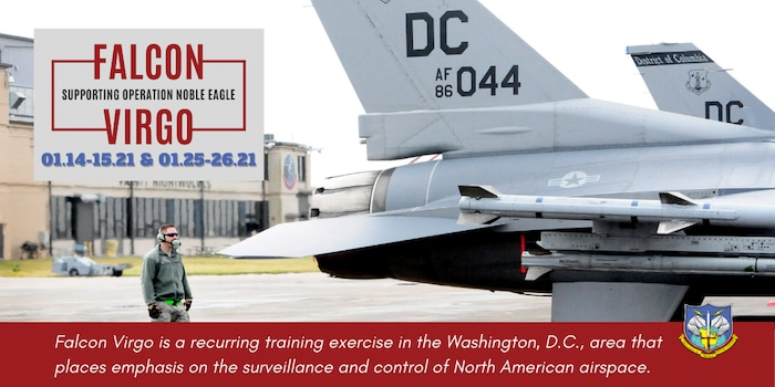 Graphic announcing NORAD air defense exercise Falcon Virgo with photo of Washington, D.C., National Guard F-16s on flight line.