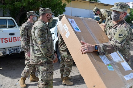 U.S. Civil Affairs East Africa Team supply PPE equipment for Regional Hospitals outside Djibouti