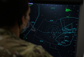 Airman 1st Class Ashtan Howell, 97th Operations Support Squadron Radar Approach Control (RAPCON) air traffic controller, views an airspace radar display screen at Altus Air Force Base, Oklahoma, Jan. 11, 2020. Each base has a different area of responsibility for RAPCON controllers. In Altus, the area stretches approximately 40 miles in each direction of the base and ranges from the ground to 9,000 feet in the air. (U.S. Air Force photo by Senior Airman Breanna Klemm)